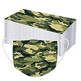 Generic 50 Stück Einweg Mundschutz Erwachsene Einmal Mund-Nasenschutz Bedeckung Camouflage Atmungsaktive Bandana Mundbedeckung Multifunktionstuch Halstuch