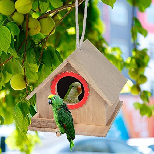 FUYIO Vogelkäfige Nester Holz Vogelhäuschen Hängenest Haus Vogelhäuschen Vogelhäuschen Holzkiste Vogelhäuschen Heimtierbedarf Zubehör, 18,5x16x14,5cm