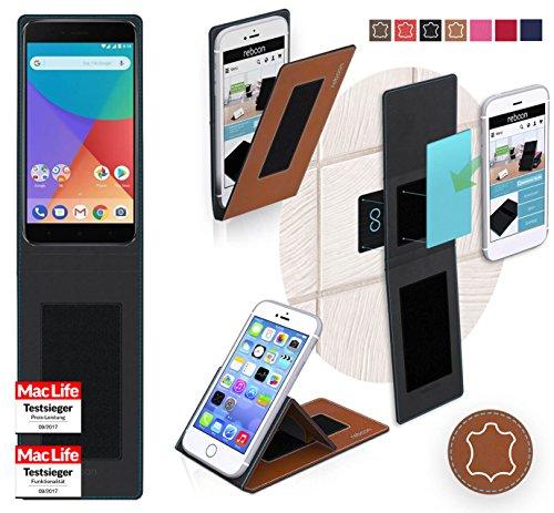 Hülle für Xiaomi Mi A1 Tasche Cover Hülle Bumper   Braun Leder   Testsieger