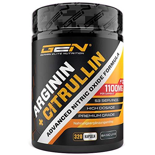L-Arginin + L-Citrullin - 320 Kapseln - 1100 mg pro Kapsel - Citrullin 2:1 + Arginin Base 1:1 Verhältnis - Premium Aminosäuren - Laborgeprüfte Qualität - German Elite Nutrition