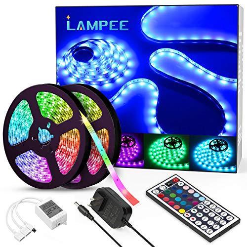 Lampee LED Strip RGB 10m LED Streifen SMD 5050 Leds mit Netzteil, Fernbedienung Led Lichtband für Wohnhaus,Küche und Deko Party