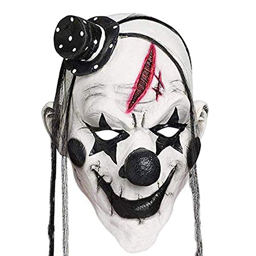 Faroot Deluxe Horrible Máscara de Payaso aterradora Hombres Adultos Látex Pelo Blanco Halloween Payaso Malvado Demonio Asesino Máscara de Payaso - Blanco y Negro
