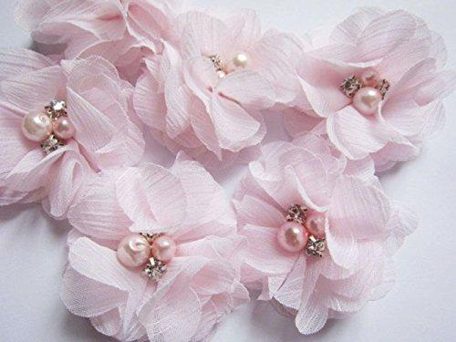 YYCRAFT 20 Stück Chiffon Blumen mit Strass und Perlen Hochzeit Dekoration/Haar Accessoire Handwerk/Nähen Craft(Baby Pink,5cm)