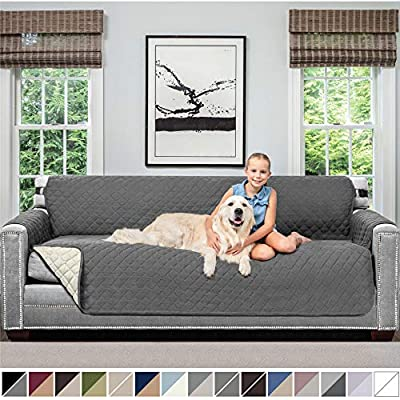 Sofa Shield Original Patent Pending Reversible X-Large Oversized Sofa Protector for Seat Width to 78 Inch, Furniture Slipcover, 2 Inch Strap, Couch Slip Cover Throw for Pet Dogs, Sofa, Charcoal Linen