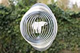 Edelstahl Windspiel 'Kreis Elefant' - 19 cm