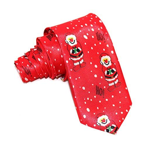 Red Novelty Christmas Theme Slim Satin Ties (Santa 'Ho...