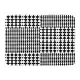 ECNM56B Alfombras de baño Alfombras de baño Alfombrilla para Puerta Cuadros y Rombos a Cuadros Negros Blancos Tartán de Tablero de ajedrez óptico en Op Bauhaus 15.8'x23.6'