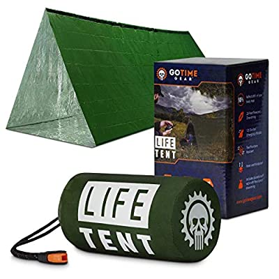 Go Time Gear Life Tent Emergency Survival Shelter – 2 Person Emergency Tent – Use As Survival Tent, Emergency Shelter, Tube Tent, Survival Tarp - Includes Survival Whistle & Paracord (Green)