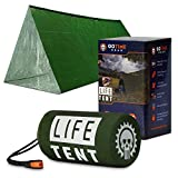 Life Tent Emergency Survival Shelter – 2 Person Emergency Tent – Use As Survival Tent, Emergency Shelter, Tube Tent, Survival Tarp - Includes Survival Whistle & Paracord (Green)