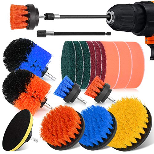 Drill Brush Attachment Set - 19 Piece Shower Cleaning Brush, Power Scrubber Brush Cleaning Kit for Kitchen and Bathroom Surfaces Tub, Grout, Tile, Sink, Carpet, Wheel, Corner and Boat