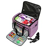 Looen Luxurious Travel Knitting Bag with Shoulder Strap Yarn Tote Organizer with Removable Inner Divider for Crochet Hooks Knitting Needles Bulk Yarn Project and Supplies No Accessories (Purple)