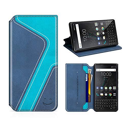 MOBESV Smiley BlackBerry Key2 Hülle Leder, BlackBerry Key2 Tasche Lederhülle/Wallet Hülle/Ledertasche Handyhülle/Schutzhülle für BlackBerry Key2, Dunkel Blau/Aqua