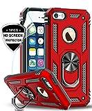 LeYi Funda iPhone SE/5S/5 Armor Carcasa con 360 Anillo iman Soporte Hard PC y Silicona TPU Bumper antigolpes con HD Protector de Pantalla - Rojo