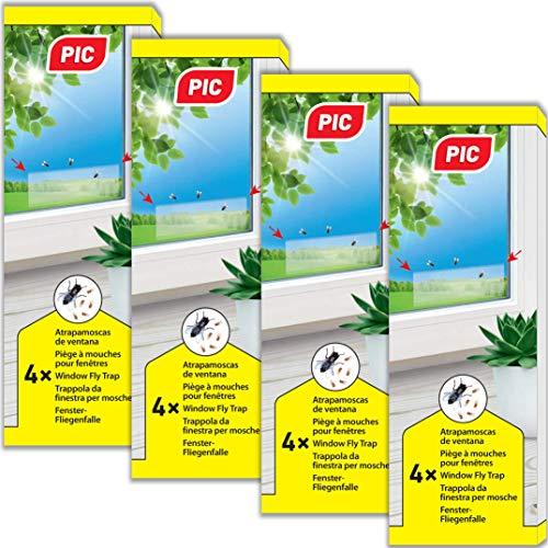 PIC- Piège à Mouches pour fenêtre – 4x4=16 pièces - Piège à Colle Non Toxique et inodore pour Attraper Les Mouches et Les Mouches des Fruits