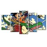 Decoracion Salon Modernos 5 Piezas Lienzo Grandes murales Pared hogar Pasillo Decor Arte Pared Cuadro Personaje película Dragon Anime de superhéroe Gohan Fotos HD Impresión Carteles Innovador Regalo