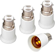 B22 to E27 Light Socket Adapter Bayonet Cap B22 to E27 Edison Screw Lamp Base Holder Converter,Allow You Install Screw Bulb into B22 Socket (4-Pack)