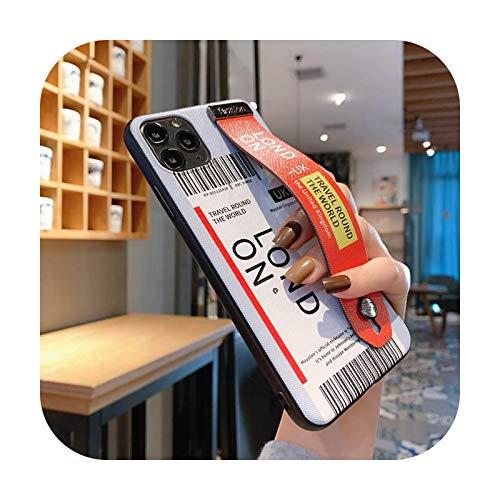 Funda para teléfono iPhone 11 Pro Max XS XR X 7 8 Plus se 2020 6 S Funda para correa de mano London-X