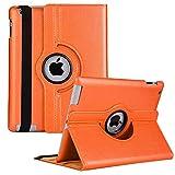 iPad Rotating Case for iPad 4 3 2 (Old Model) - 360 Degree Rotating Smart Stand Protective Cover with Auto Wake/Sleep for iPad 4th Gen, iPad 3 & iPad 2(Orange)