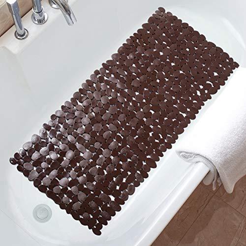 TreeBud Pebble - Alfombrilla de baño antideslizante para bañera de 35 x 16 pulgadas, con orificios de drenaje y ventosas, lavable a máquina (marrón)