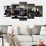 ZDFDC Wandkunst Leinwand Gemälde Oldtimer Poster Bild Drucke Moderne Schlafzimmer Wohnkultur 5 Pcs-40x60 40x80 40x100 cm kein Rahmen