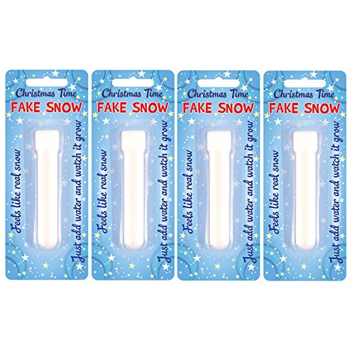 HENBRANDT Christmas Time Fake Snow Tube - Instant Just Add Water - Like Real Snow (Pack of 4)