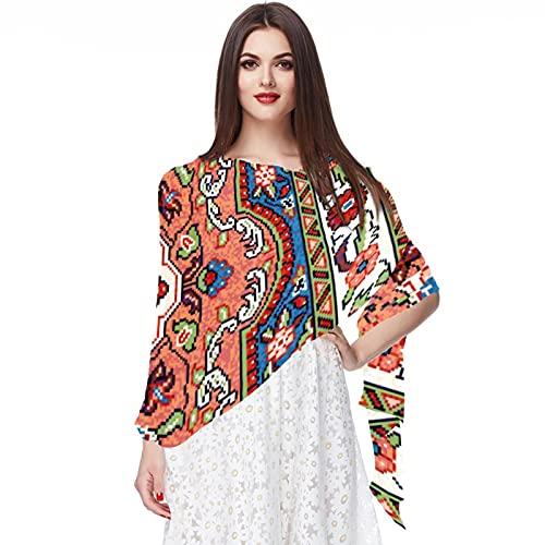 WJJSXKA Bufandas para mujer Estampado ligero Estampado floral Bufanda Chal Bufandas de moda Chales de protección solar, Alfombra Sarouk de mosaico oriental colorido