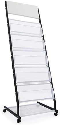 PrimeMatik - Prospektständer und Zeitschriftenständer mit Räder und 5 Halter
