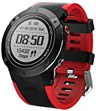 TCHENG Multifuncional al Aire Libre Reloj Inteligente GPS Ritmo cardíaco natación Impermeable Pulsera de montañismo 30 Metros Impermeable para Hombres Mujeres (Color : Red)