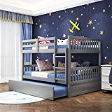 Olela Full Over Full Bunk Bed with Twin Trundle,Convertible Wood Full Bunk Bed Frame with Trundle Guard Rail Ladder for Kids Teens,No Box Spring Need (Full Over Full Grey)