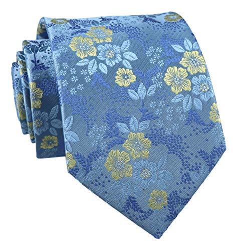 Secdtie Men's Cool Blue Yellow Self Tie Floral Leaf Silk Paisley Wedding Necktie