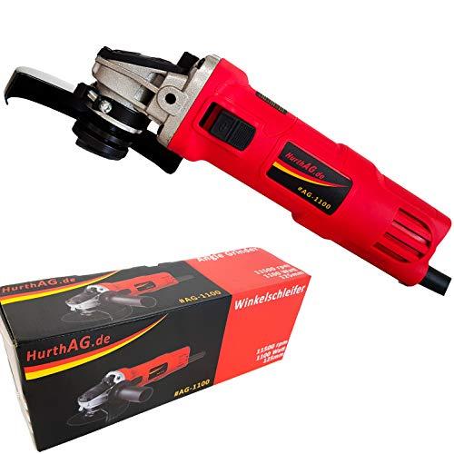 Winkelschleifer Professional 1100W Scheiben-ø 125mm M14 mit Geschwindigkeitseinstellung 11500 RPM Motor drehbarer Handgriff Scheibenschutz Spindelarretierung verstärkter Getriebekopf