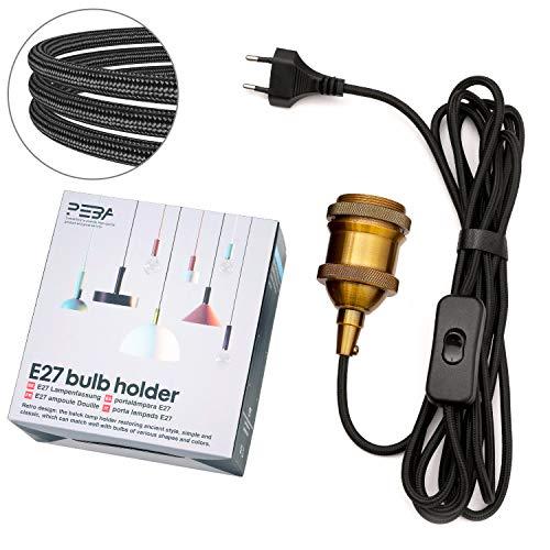 E27 Lampenfassung mit 3.5m Textilkabel Lampensockel mit Schalter und Stecker E27 Fassung Lampenkabel Schwarz Netzkabel Lampensockel PEBA für Kabel Hängeleuchte Vintage Pendelleuchte