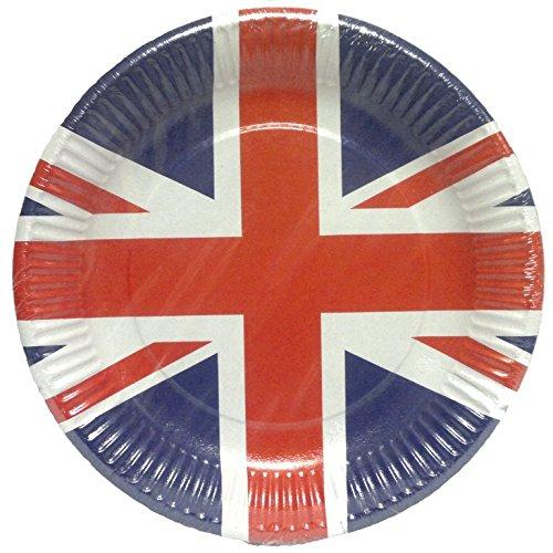Amscan International 994127 Grande-Bretagne Union Jack Assiettes en papier Décorations de 8 Go, Bleu, Blanc et Rouge, taille unique