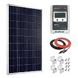 Giosolar Kit de Panel Solar de 100 W 12 V policristalino con Control de Carga Solar MPPT 20 A + Cable Rojo/Negro + Soportes de Montaje ZZbrackets para RV Barco Off-Grid
