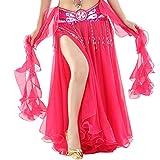 Vobony Falda Danza del Vientre Mujer Profesional Color Sólido Falda de Gasa Largas Disfraz de Baile Vestido de Baile Ropa de Rendimiento (Rosa Caliente)