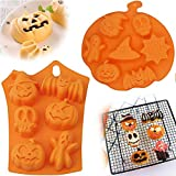 2 Stück Halloween Silikon Backformen, Halloween Geist Silikon Schokoladenform, Halloween Kürbis Silikon Backform, für Küche DIY Fondant Süßigkeitenform Eiswürfel Kuchen Dekor