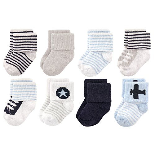 Luvable Friends Unisex Baby Socks, Airplane 8-Pack, 0-6 Months