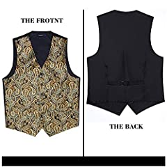 Hisdern Men's Paisley Floral Jacquard Waistcoat&Necktie and Pocket Square Vest Suit Set, Gold, L(Chest 46inch) #1