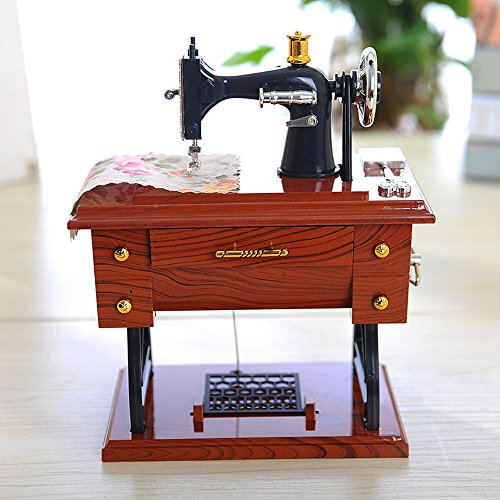 KAB Vintage Music Box Mini Sewing Machine Style Mechanical Birthday Gift Table Decor Musical Box