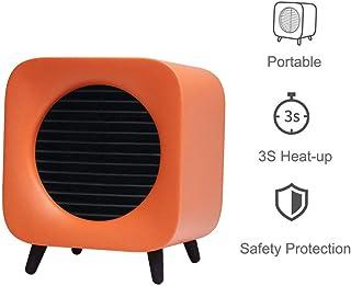GOYOO 700W Calefactor con 2 Funciones Ajustables 3s Calentamiento rápido, Protección de Sobrecalentamiento y bajo Consumo con Carry portátil manija,Naranja