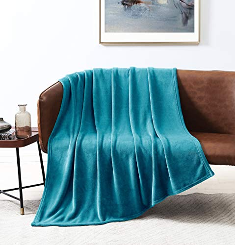 Love's cabin Flannel Fleece Blanket Throw Size Teal Throw Blanket for Couch, Extra Soft Double Side Fuzzy & Plush Fall Blanket, Fluffy Cozy Blanket for Adults Kids or Pet (Lightweight,Non Shedding)