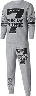 UJUNAOR Men's Autumn Winter Printed Sweatshirt Top Pants Sets Sports Suit Tracksuit