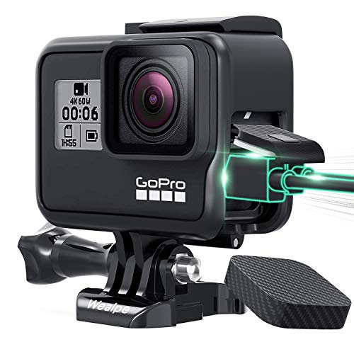 Wealpe Frame Mount Case Housing Compatible with GoPro Hero 7 Black/Silver/White, Hero 6, Hero 5, Hero (2018) Cameras with Lens Cap