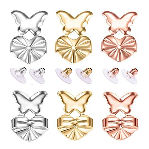 6 Pairs of Earring Lifters and Earring Backs Pack Adjustable Hypoallergenic Safety Locking Stud Earring Lifts Accessories for Droopy Ears Heavy Ear Lobe Support (Butterfly)