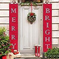 クリスマスカプレット休日装飾カーテンクリスマスバナー屋外吊り旗バナー (B)