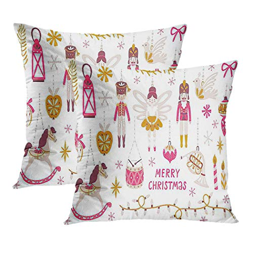Ajckly Cute Throw Pillow Cover Christmas Nutcracker Princess Soldier Rocking Horse Horn Drum and Holiday Cushion Cover Pillowcase for Living Room Sofa Couch Decor Hidden Zipper, 18x18 Inch, Set of 2