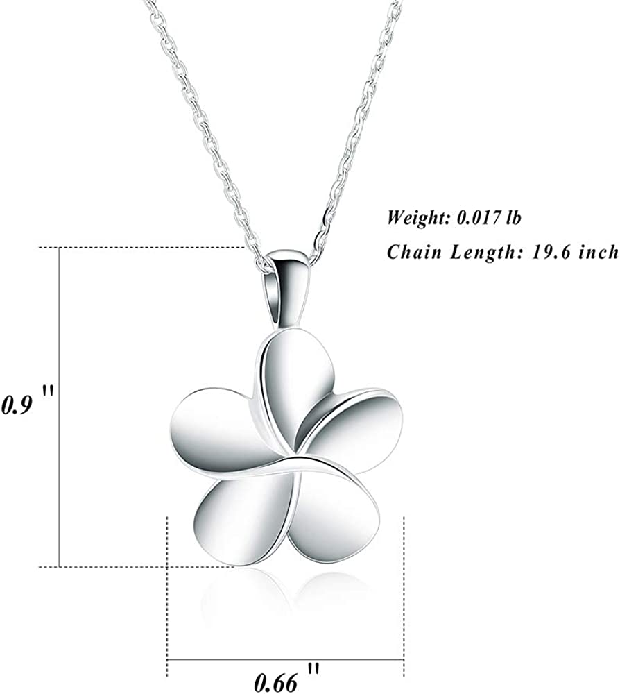 Cremation Jewelry Plumeria Teardrop Urn Pendant Hawaiian Flower Urn Necklace Small Urn Remembrance and Memorial Keepsake Necklace