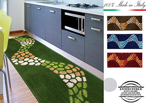 TAPPETO MORBIDISSIMO ALTA QUALITA' per cucina bagno camera 7 misure disponibili SHAGGY 100% MADE IN ITALY mod.MATILDE 57X290 VERDE (D)
