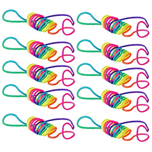 AmiAbi Old Game of The Finger Fun Twist String Rainbow Coloured Rope Chain with Children Macrame Cord Ztringz Rainbow (Colorful), Rainbow Rope is The Age Old Game of The Finger Twist in New Colourfu