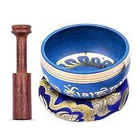 チベットシンギングボウル ブルーチベットシンギングボウルセット9.5cm / 3.7インチハンドメイドメタルサウンドボウルソフトクッション木製ストライカー治癒 (Size:Type A; Color:Blue)